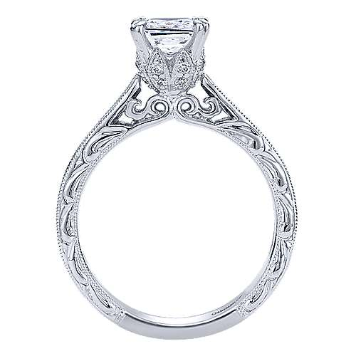 Dolores 14k White Gold Princess Cut Straight Engagement Ring angle 2
