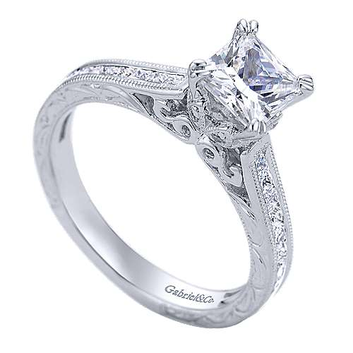Dolores 14k White Gold Princess Cut Straight Engagement Ring angle 3