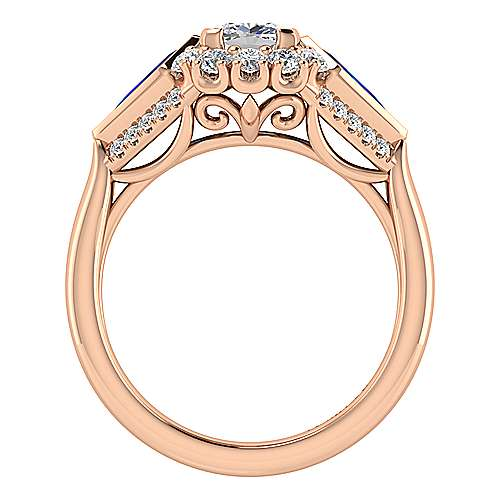 Dominique 18k Rose Gold Cushion Cut Halo Engagement Ring angle 2