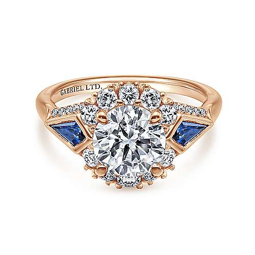 Dominique 18k Rose Gold Round Halo Engagement Ring angle 1