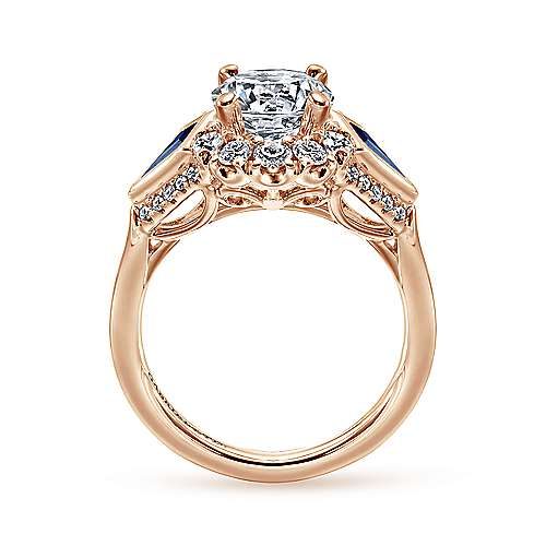 Dominique 18k Rose Gold Round Halo Engagement Ring angle 2