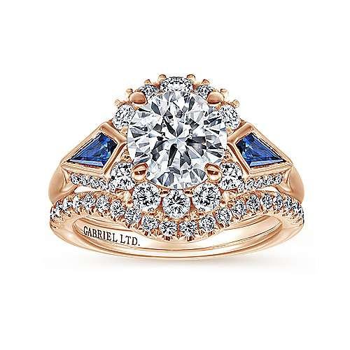 Dominique 18k Rose Gold Round Halo Engagement Ring angle 4