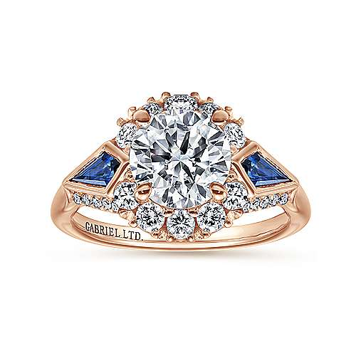 Dominique 18k Rose Gold Round Halo Engagement Ring angle 5