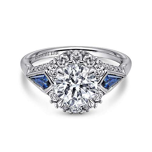 Dominique 18k White Gold Round 3 Stones Halo Engagement Ring angle 1