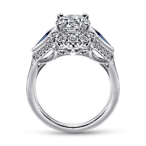 Dominique 18k White Gold Round 3 Stones Halo Engagement Ring angle 2