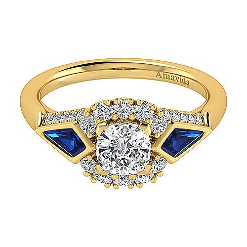 Dominique 18k Yellow Gold Cushion Cut Halo Engagement Ring angle 1