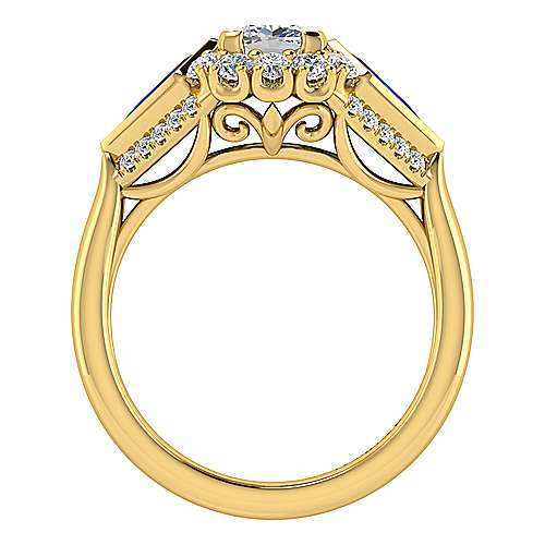 Dominique 18k Yellow Gold Cushion Cut Halo Engagement Ring angle 2