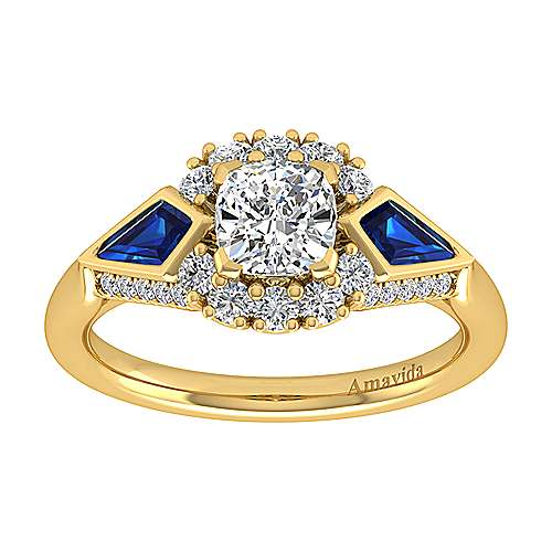 Dominique 18k Yellow Gold Cushion Cut Halo Engagement Ring angle 5