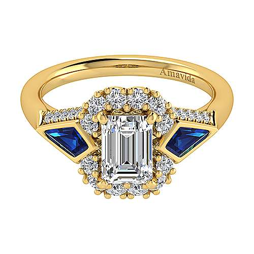 Dominique 18k Yellow Gold Emerald Cut Halo Engagement Ring angle 1