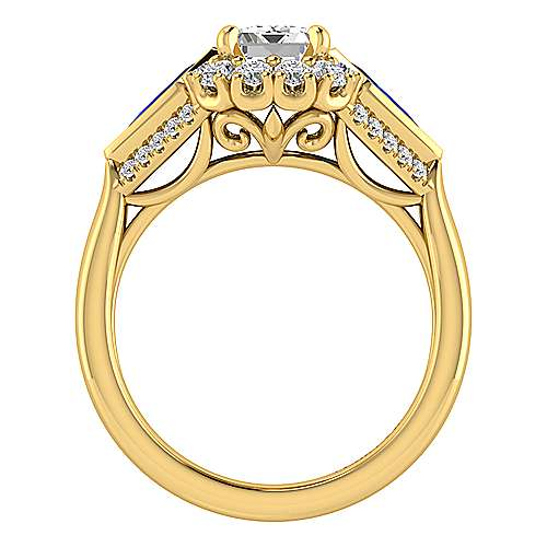 Dominique 18k Yellow Gold Emerald Cut Halo Engagement Ring angle 2