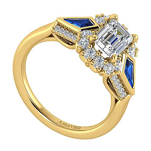 Dominique 18k Yellow Gold Emerald Cut Halo Engagement Ring angle 3