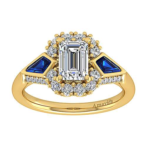 Dominique 18k Yellow Gold Emerald Cut Halo Engagement Ring angle 5