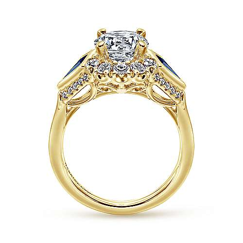 Dominique 18k Yellow Gold Round Halo Engagement Ring angle 2