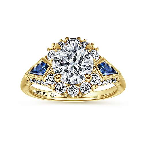 Dominique 18k Yellow Gold Round Halo Engagement Ring angle 5