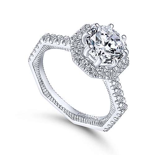 Donna 14k White Gold Round Halo Engagement Ring angle 3