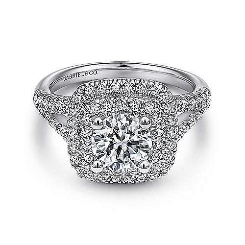 Gabriel - Dorian 18k White Gold Round Double Halo Engagement Ring