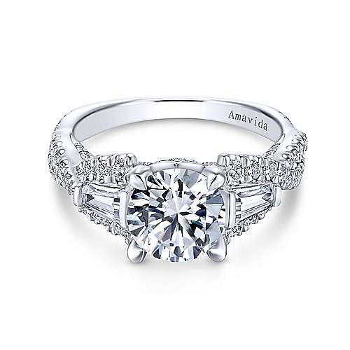 Doris 18k White Gold Round 3 Stones Engagement Ring angle 1