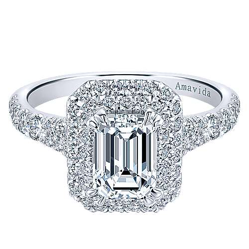 Gabriel - Dottie 18k White Gold Emerald Cut Double Halo Engagement Ring