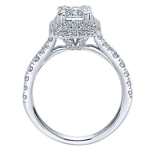 Dottie 18k White Gold Emerald Cut Double Halo Engagement Ring angle 2
