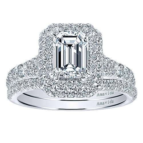 Dottie 18k White Gold Emerald Cut Double Halo Engagement Ring angle 4