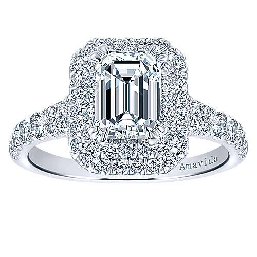 Dottie 18k White Gold Emerald Cut Double Halo Engagement Ring