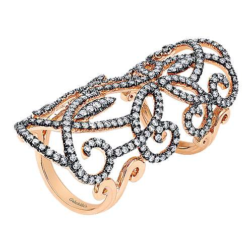 Double Finger 14K Rose Gold Openwork Diamond Statement Ring