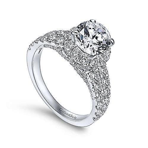 Dove 18k White Gold Round Halo Engagement Ring angle 3