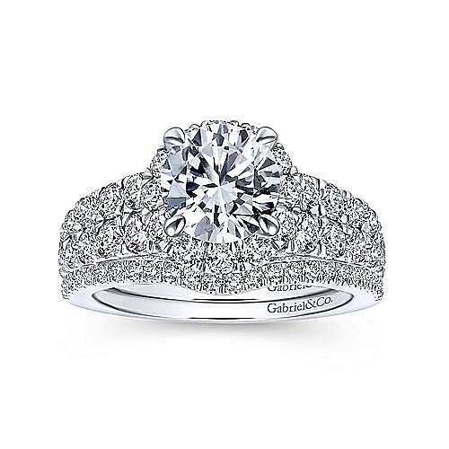 Dove 18k White Gold Round Halo Engagement Ring angle 4