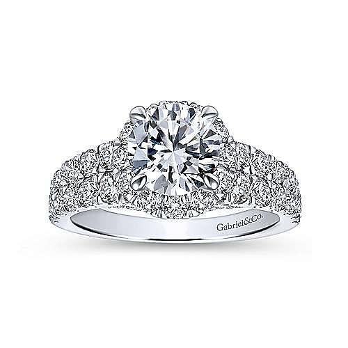 Dove 18k White Gold Round Halo Engagement Ring angle 5