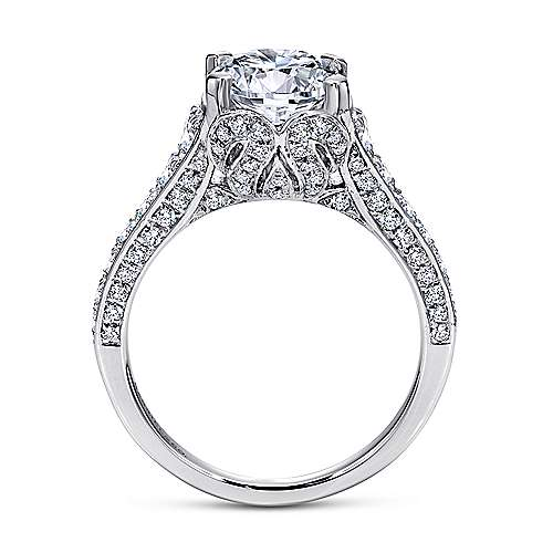 Dream 18k White Gold Round Straight Engagement Ring angle 2