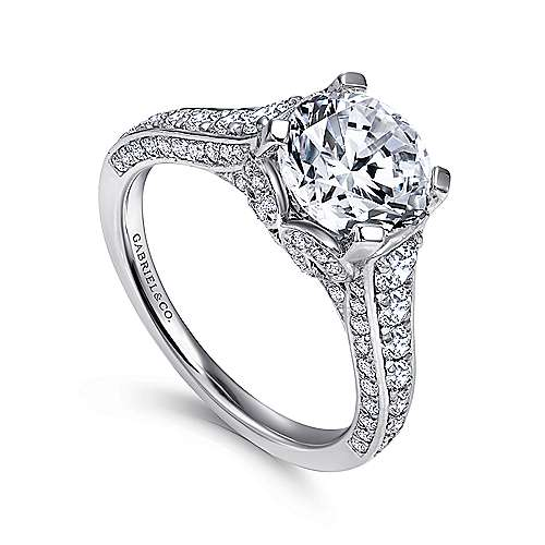 Dream 18k White Gold Round Straight Engagement Ring angle 3