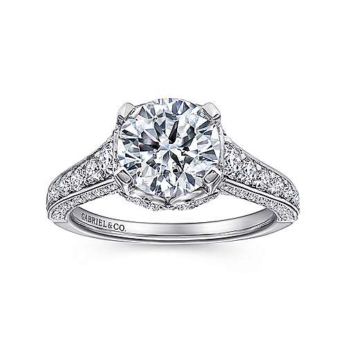 Dream 18k White Gold Round Straight Engagement Ring angle 5