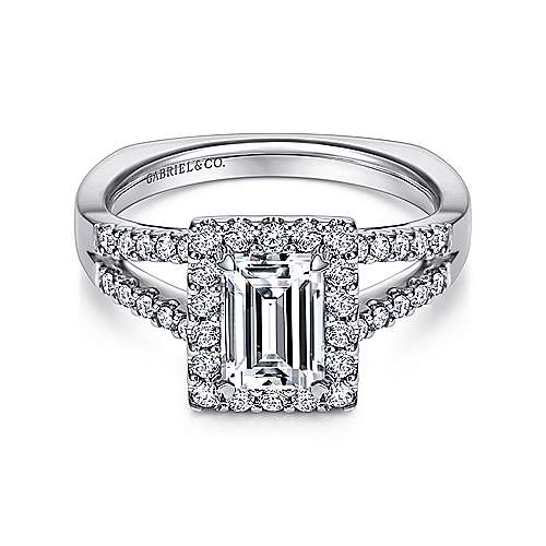 Gabriel - Drew 14k White Gold Emerald Cut Halo Engagement Ring