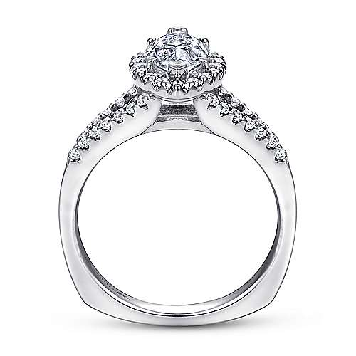 Drew 14k White Gold Marquise  Halo Engagement Ring angle 2