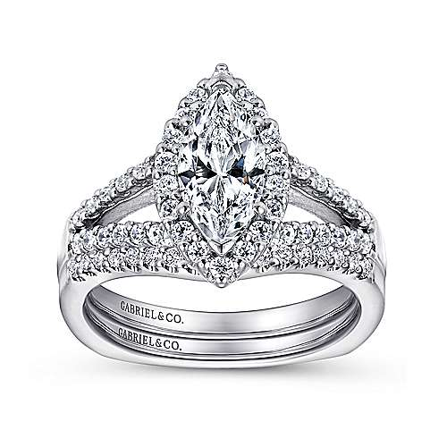 Drew 14k White Gold Marquise  Halo Engagement Ring angle 4