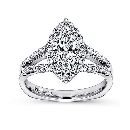 Drew 14k White Gold Marquise  Halo Engagement Ring angle 5