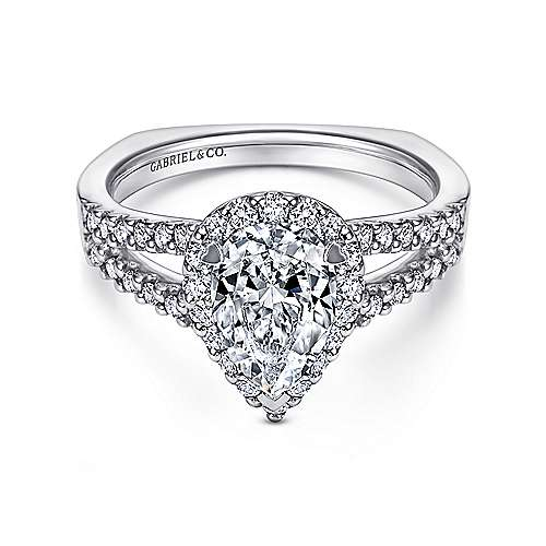 Gabriel - Drew 14k White Gold Pear Shape Halo Engagement Ring