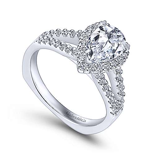 Drew 14k White Gold Pear Shape Halo Engagement Ring angle 3