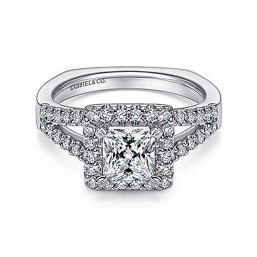Gabriel - Drew 14k White Gold Princess Cut Halo Engagement Ring
