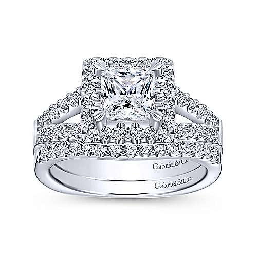 Drew 14k White Gold Princess Cut Halo Engagement Ring angle 4