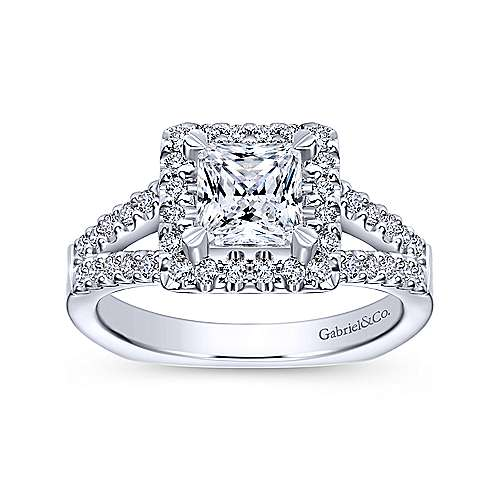 Drew 14k White Gold Princess Cut Halo Engagement Ring angle 5