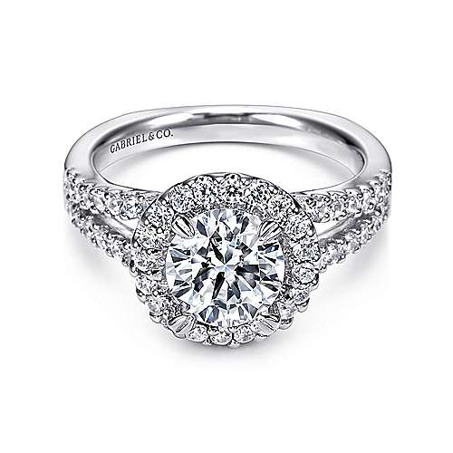 Drew 14k White Gold Round Halo Engagement Ring angle 1