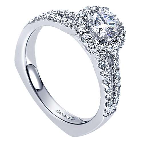 Drew 14k White Gold Round Halo Engagement Ring angle 3