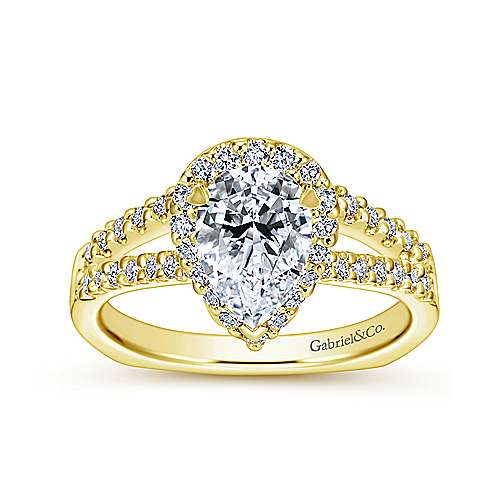 Drew 14k Yellow Gold Pear Shape Halo Engagement Ring angle 5