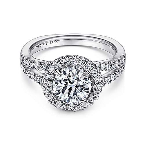 Gabriel - Drew Platinum Round Halo Engagement Ring