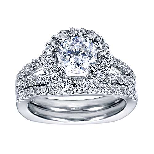 Drew Platinum Round Halo Engagement Ring angle 4
