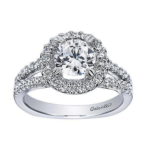 Drew Platinum Round Halo Engagement Ring angle 5