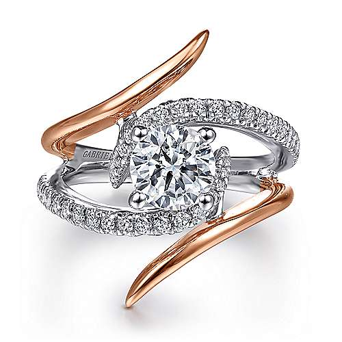 Gabriel - Duet 14k White And Rose Gold Round Bypass Engagement Ring