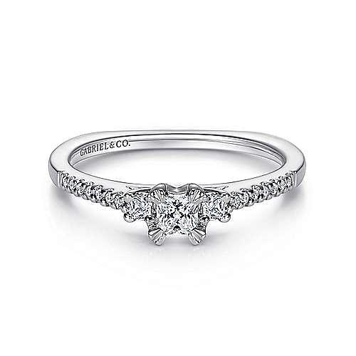Gabriel - Duke 14k White Gold Princess Cut 3 Stones Engagement Ring