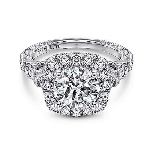 Dulce 18k White Gold Round Halo Engagement Ring angle 1